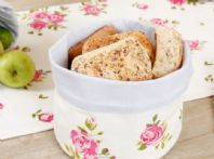 French Floral Fabric Shabby Chic Round Bread Basket